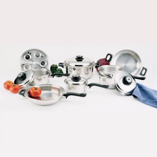 WORLDS FINEST 7PLY STEAM CONTROL 17PC SURGICAL STAINLESS STEEL WATERLESS COOKWARE SET