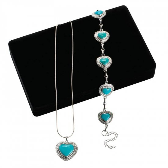 TURQUOISE AND STERLING SILVER NECKLACE AND BRACELET SET