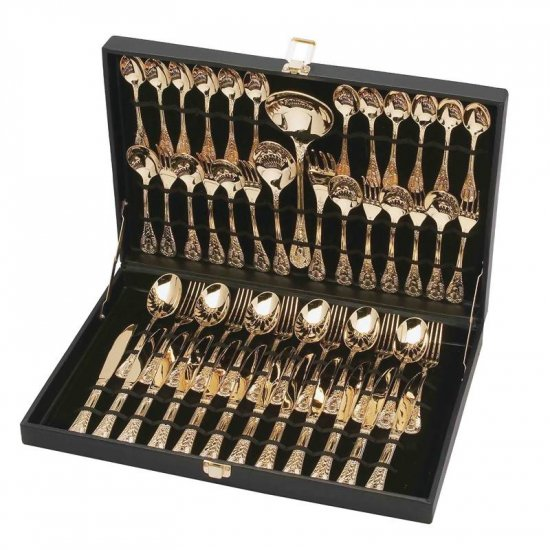 STERLINGCRAFT 51PC GOLD PLATED FLATWARE SET W/RIBBON DESIGN