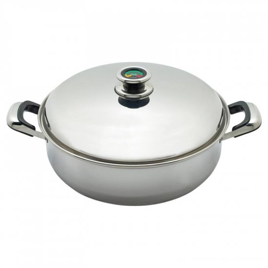 THERMO CONTROL T304 9ELEMENT DEEP SKILLET W/HIGH DOME COVER FROM CHEFS SECRET BY MAXAM