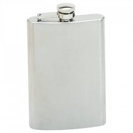 MAXAM STAINLESS STEEL 8OZ HIP FLASK W/SCREW DOWN CAP