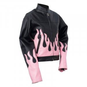 DIAMOND PLATE LADIES BLACK AND PINK FLAME JACKET ~ SIZE MEDIUM