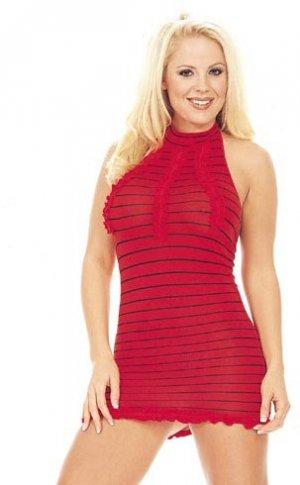 Striped Halter Mini Dress with Ruffles - New