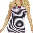 Small Striped Mini Dress with Ribbon Halter and Bow - New