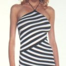Offset Stripe Halter Mini Dress - New