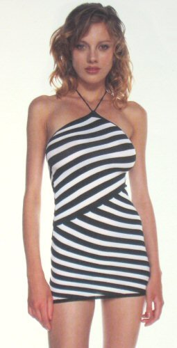 Offset Stripe Halter Mini Dress - New