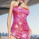 Asian Brocade Embroidered Mini Dress with Mandarin Collar - New