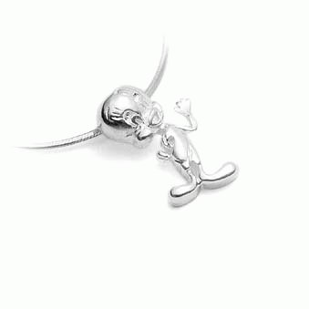 STERLING SILVER TWEETY PENDANT ON LEATHER NECKLET