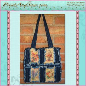 Reproduction Seed Pack Rag Quilted Tote EC