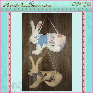Hanging Bunny with Vintage Photo EC
