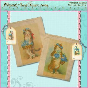 Muslin All-Occasion Gift Bags with Cat Images E-Pattern EC