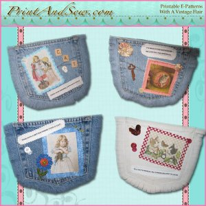 Altered Art Recycled Jeans Pockets E-pattern  EC