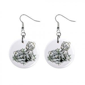 White Tiger Cubs Button Earrings 13004376