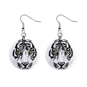 White Tiger Face Button Dangle Earrings Wild Animal Jewelry 13004393