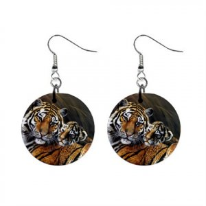 Mama Tiger with Tiger Cub Dangle Button Earrings 13566839