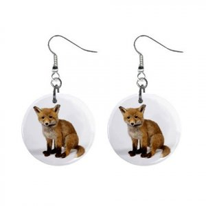 "New Baby Fox 1"" Round Button Dangle Earrings Jewelry 13164140"