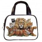 Wild Animals Black Designer 100% Leather Handbag Purse 19473653