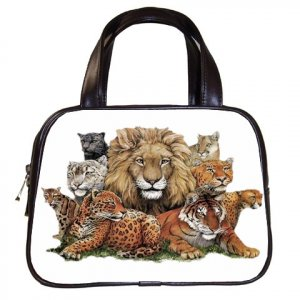 Wild Animals Black Designer 100% Leather Handbag Purse 19473653