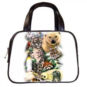 Wild Artic Animals Black Designer 100% Leather Handbag Purse 19473733