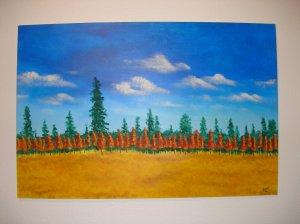 Duane Cash Acrylic Painting 24 x 36 - Original Trees Art