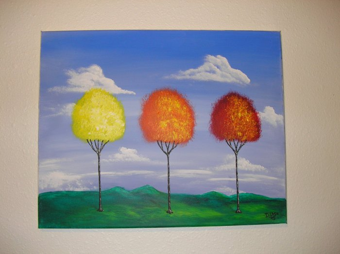Duane Cash Acrylic Painting 16 x 20 - Original Tree Art - Colorful
