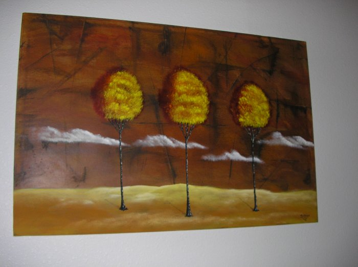 Duane Cash Acrylic Painting 24 x 36 - Original Trees Abstract Art