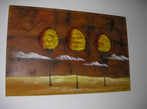 Duane Cash Acrylic Painting 24 x 36 - Original Trees Abstract Art