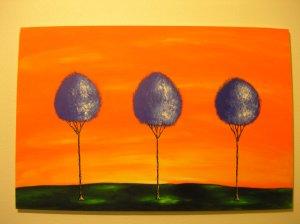Duane Cash Acrylic Painting 24 x 36 - Original Blue Trees Orange Sky Art