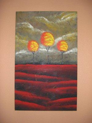 Duane Cash Textured Acrylic Painting 30 x 48 - Original Trees Art