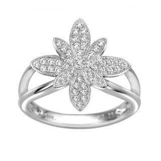 18K White Gold Diamond Floral Ring