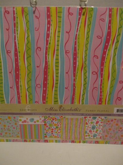 """Funky Floral Scrapbooking Papers 12"""" x 12"""""""