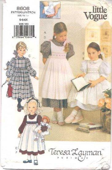 VOGUE Pattern No. 8608, 5-6-6X Dress & Pinafore