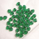 Czech Glass 6mm Emerald Green Puff Heart Beads-25
