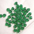 Czech Glass 6mm Emerald Green Puff Heart Beads-25