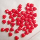 Czech Glass 6mm Red Opaque Puff Heart Beads-25