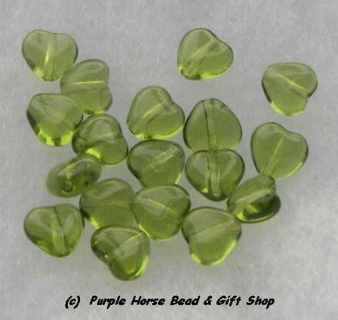Czech Glass 10mm Olivine Lt Green Puff Heart Beads (30)
