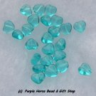 Czech Glass 10mm Lt Aqua Puff Heart Beads (30)