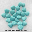 Czech Glass 10mm Turq Blue Opaque Puff Heart Beads (30)