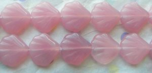 Czech Milky Opal Pink Shell Beads (15)