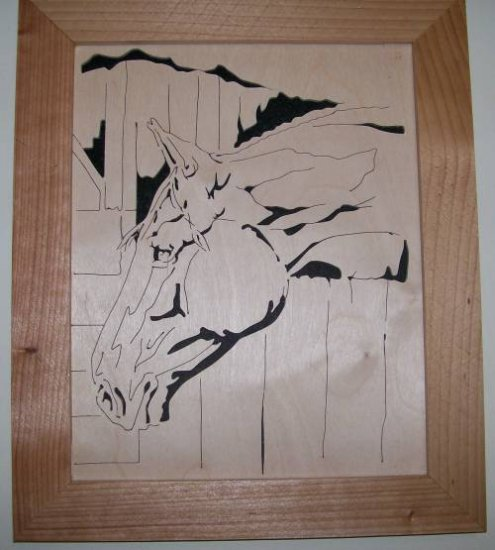 Horse in a stable Scroll Saw Picture