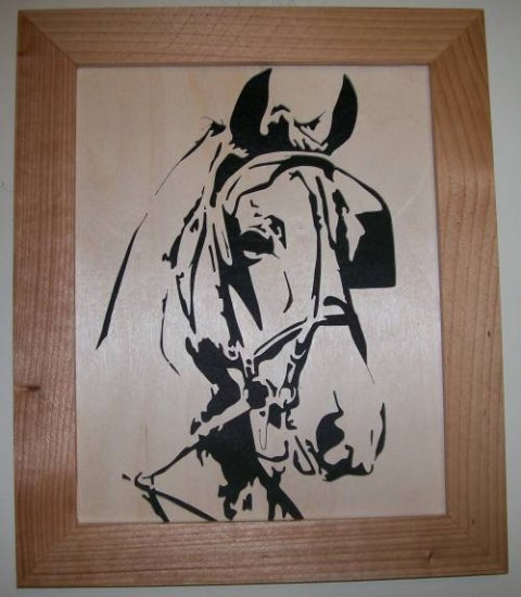 Horse With Blinders Scroll Saw Picture