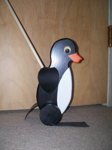 Waddling Penguin Handmade Wooden Push Toy