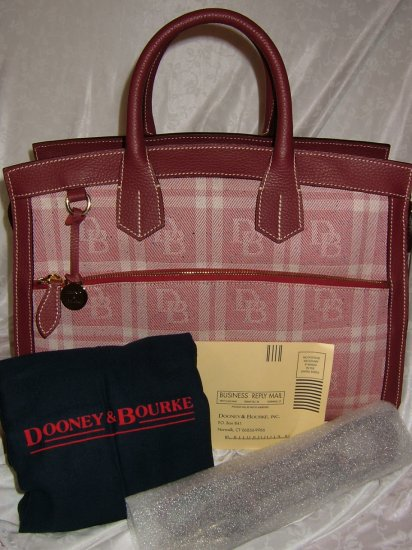 DOONEY & BOURKE ROUGE (RED) SIGNATURE PLAID DOMED ZIPTOP BRIEF/TOTE
