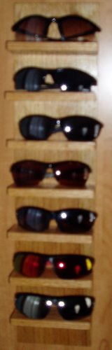 Eyeglass Sunglass Rack Storage Shelf Wood Hang Display