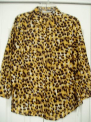 Sag Harbor Shirt Top Blouse Large Leopard Print 3/4 NEW