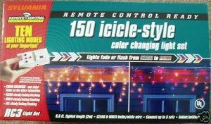 Sylvania 150 Icicle Lights Christmas Clear Multi