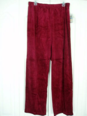 Cappagallo Pants XL Burgundy  Elastic Waist Velour NEW