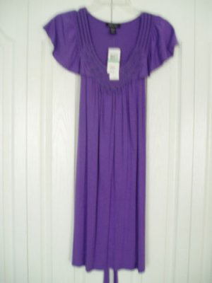 Spense  Dress Skirt Pl Large Purple Cap Slv Embroidered