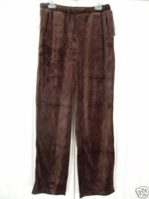 JM Collection Drawstring Pants Large Brown Velour 34