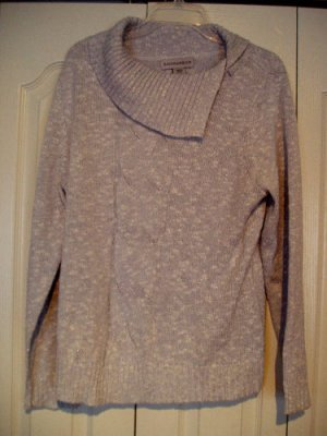 Sag Harbor sweater Large Gray White Sparkle cowl Knit